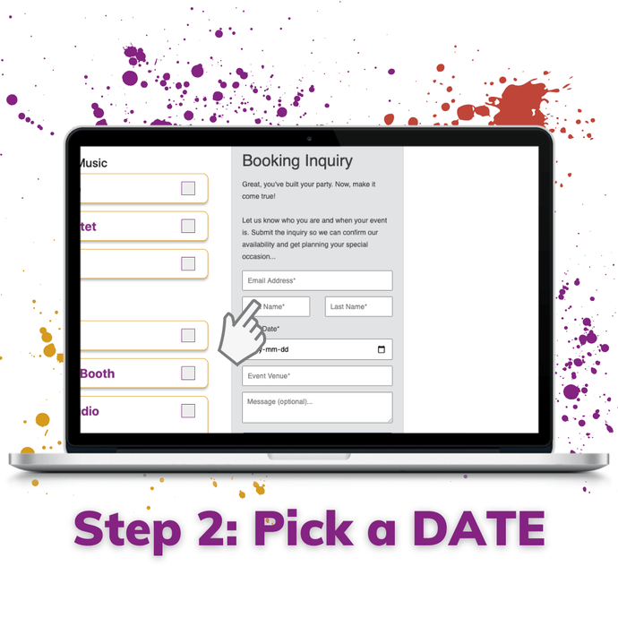 step 2 pick a wedding date or event date