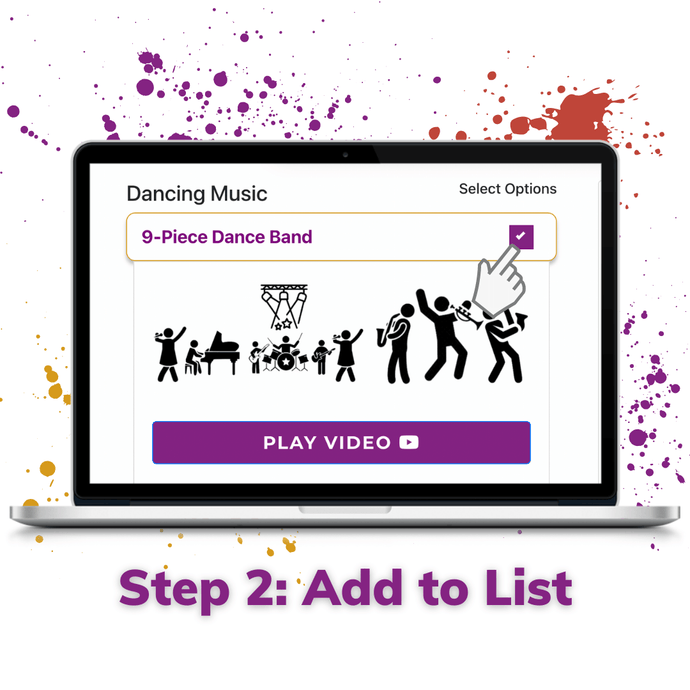 Step 2 add wedding band service to build your party list