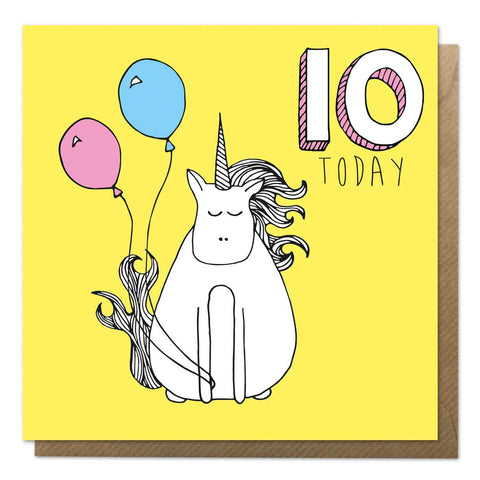 Yellow 10th birthday card with an illustration of a unicorn - Tenth Birthday