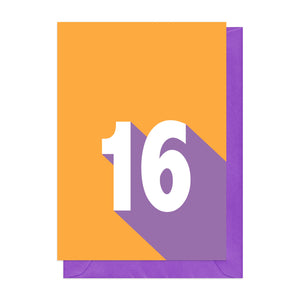 Orange and purple retro 16th birthday card