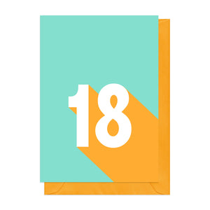 Blue and yellow retro 18th birthday card