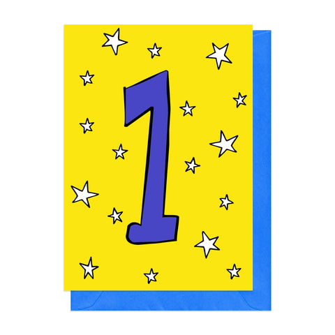 Yellow and blue 1st birthday card
