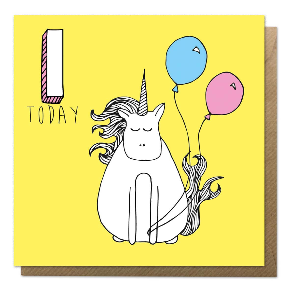 Yellow 1st birthday card with an illustration of a unicorn - First Birthday