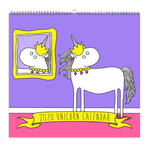 Cover of 2020 unicorn calendar. This calendar is spiral bound.