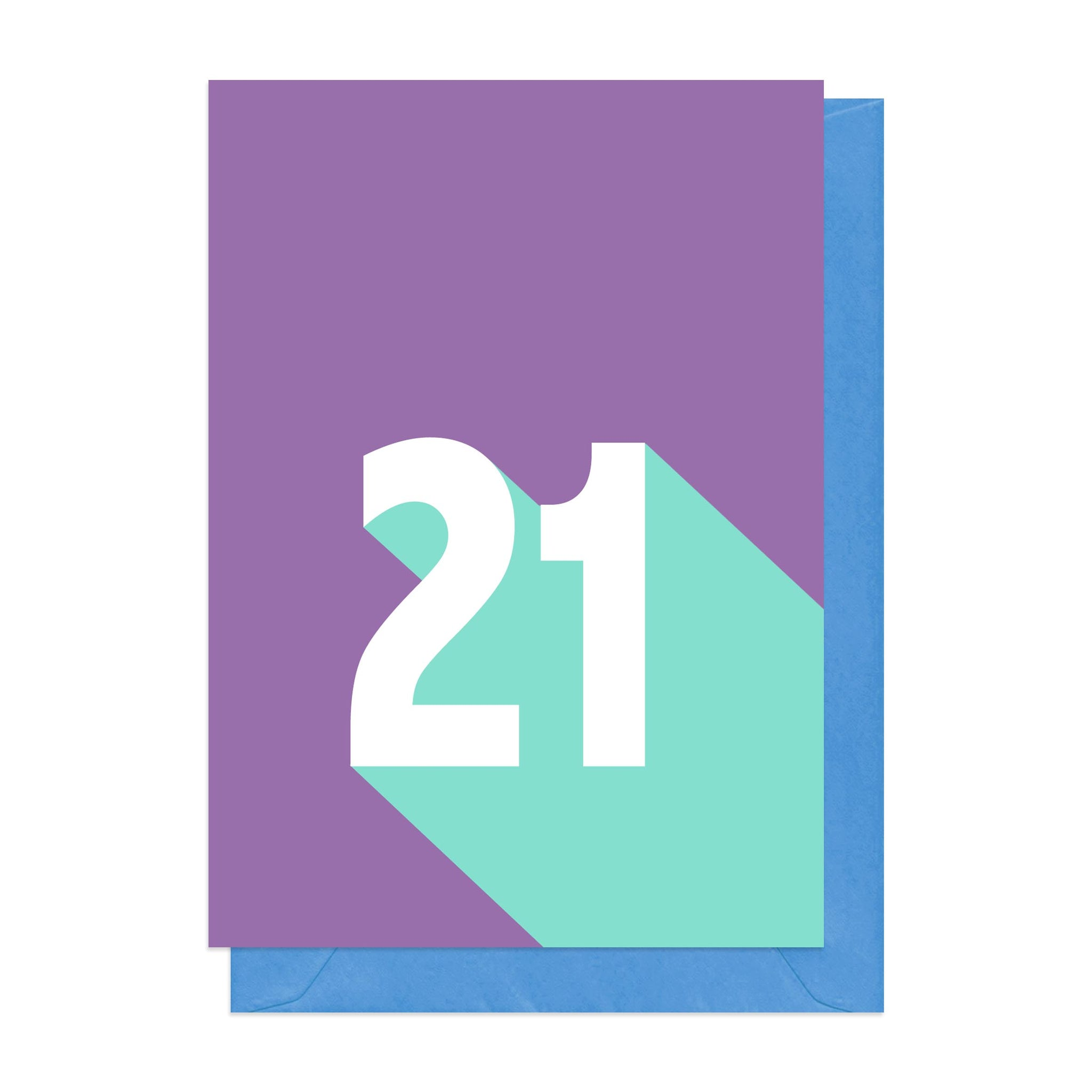 Purple and blue retro 21st birthday card