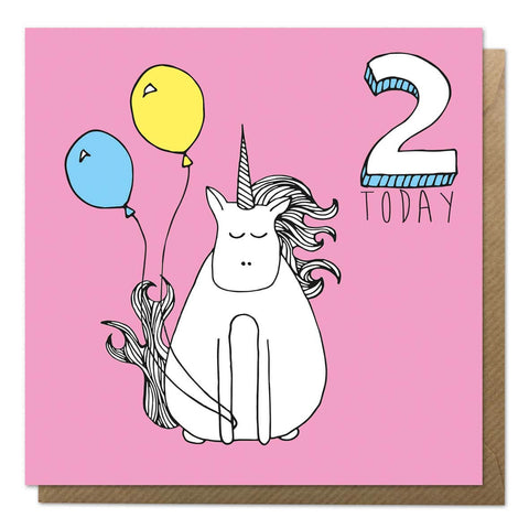 Pink 2nd Birthday Card - Unicorn birthday Card