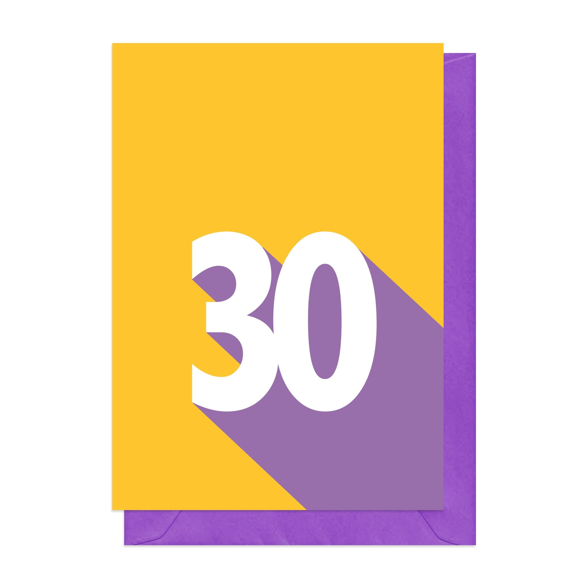 Purple and yellow retro 30th card