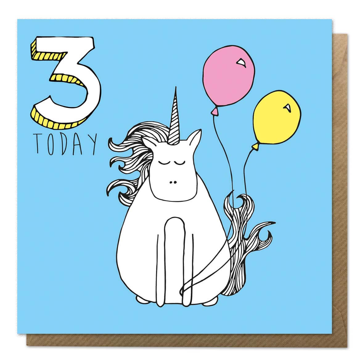 Blue 3rd birthday card with a drawing of a unicorn - Third birthday card