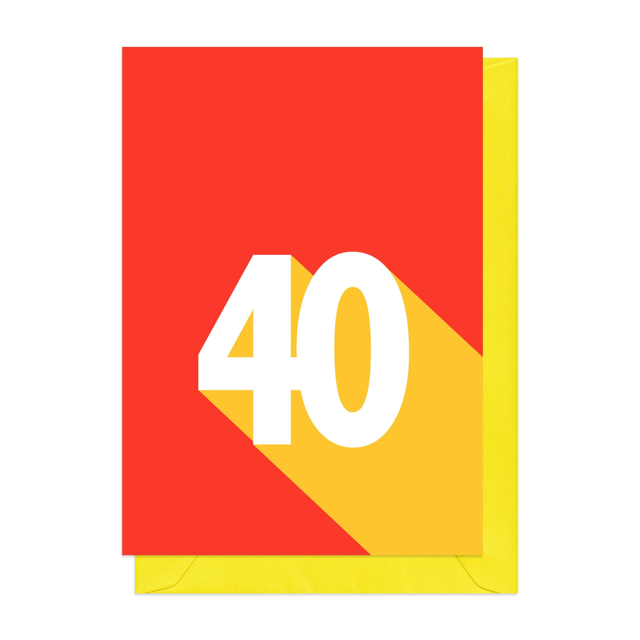 Yellow and red retro 40th birthday card