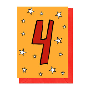 Red and orange fourth birthday card