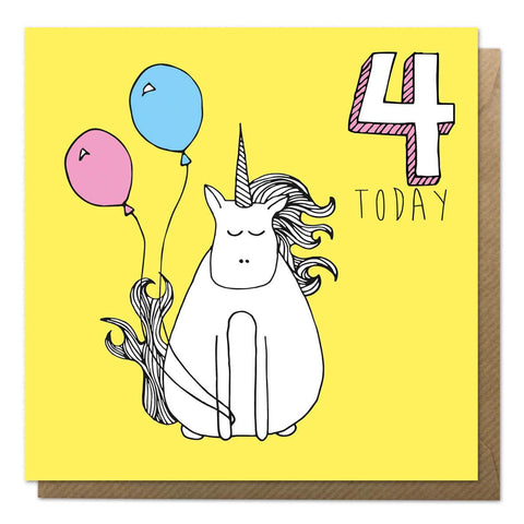Yellow 4th birthday card with an unicorn drawing - Fourth Birthday