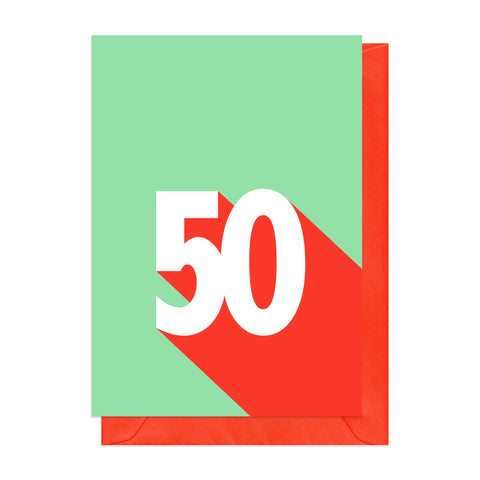 Green and red retro 50th birthday card