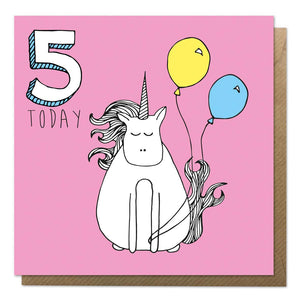 Pink 5th birthday card with an illustration of a unicorn - fifth birthday card