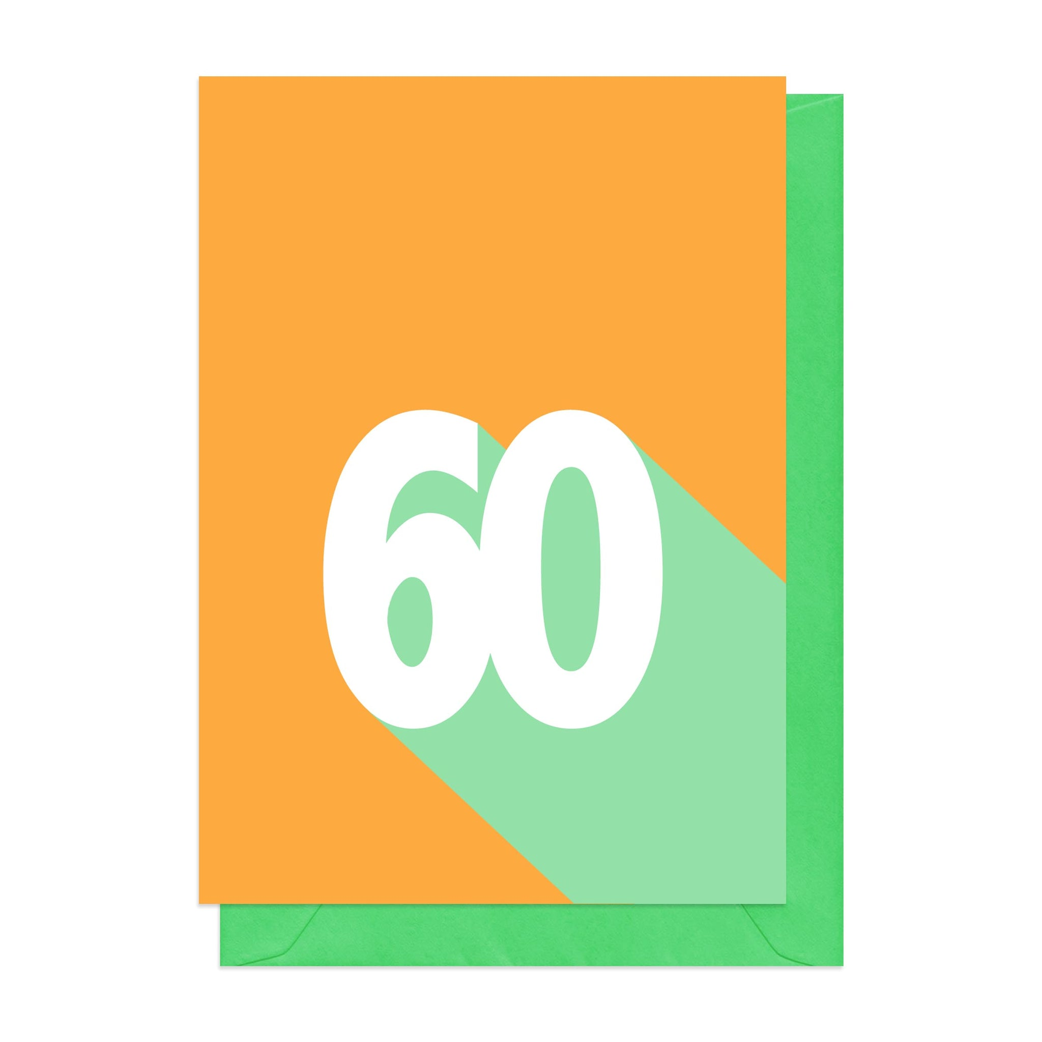 Orange and green 60th birthday card