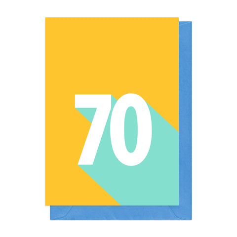 Yellow and blue retro 70th birthday card