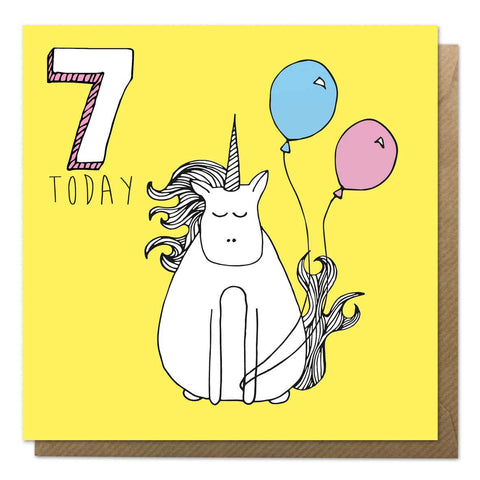 Yellow 7th birthday card with a unicorn drawing - seventh birthday
