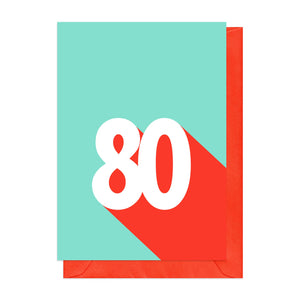 Red and blue retro 80th birthday card