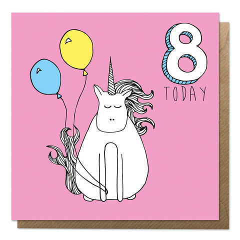 Pink 8th birthday card with a unicorn drawing - eighth birthday