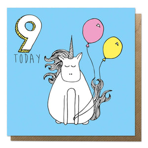 Blue 9th birthday card with a drawing of a unicorn - ninth birthday card