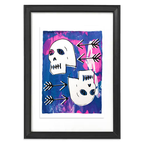 Screen print featuring two skulls on a blue and pink background