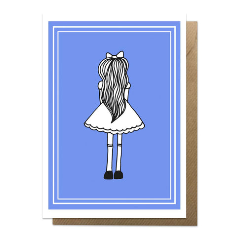 Blue A6 greeting card featuring Alice in Wonderland with brown envelope