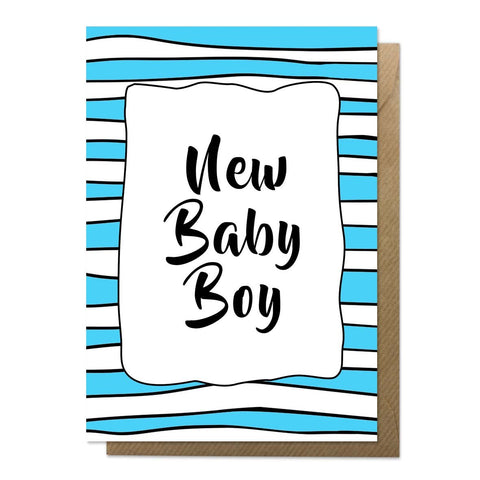 Blue and white patterned new baby boy card with brown envelope