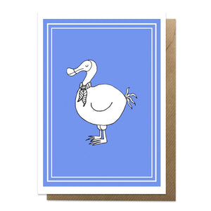 Blue greeting card with an illustration of a dodo