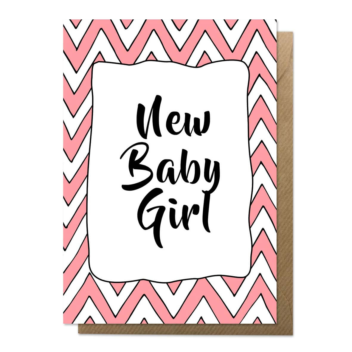 Pink and white patterned new baby card with brown envelope