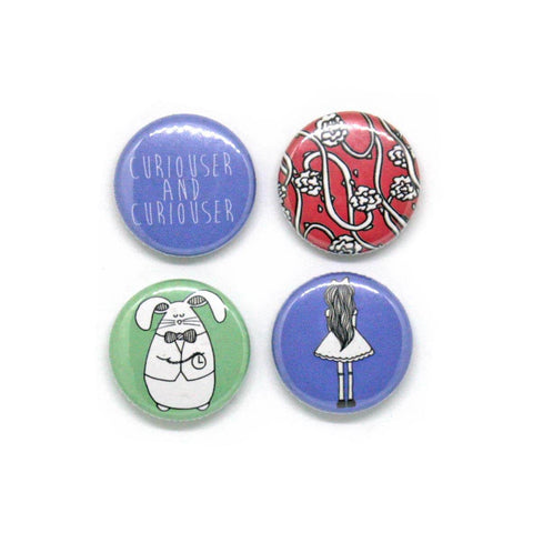 Set of 4 Alice in Wonderland badges with pictures of Alice and the white rabbit