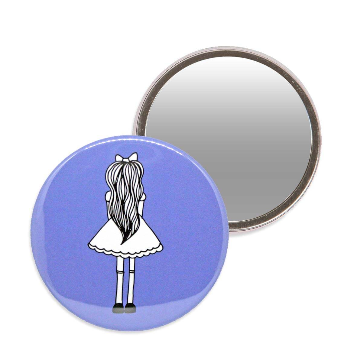 Blue Alice in Wonderland makeup mirror. 7.6cm diameter