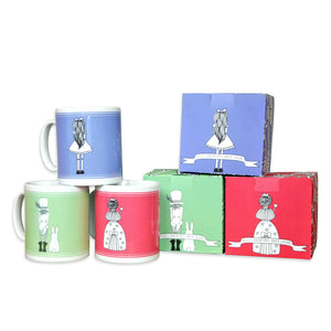 Set of three Alice in Wonderland quotes mugs in green, red and blue