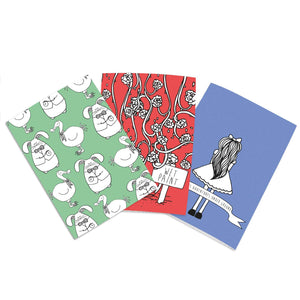 Set of 3 cute notebooks with an Alice in Wonderland theme