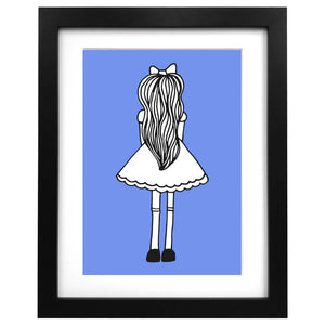 A3 blue Alice in Wonderland art print - quirky gift
