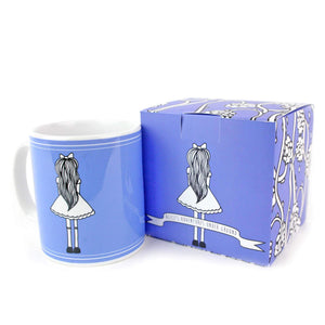 Blue Alice in Wonderland quotes mug with matching box