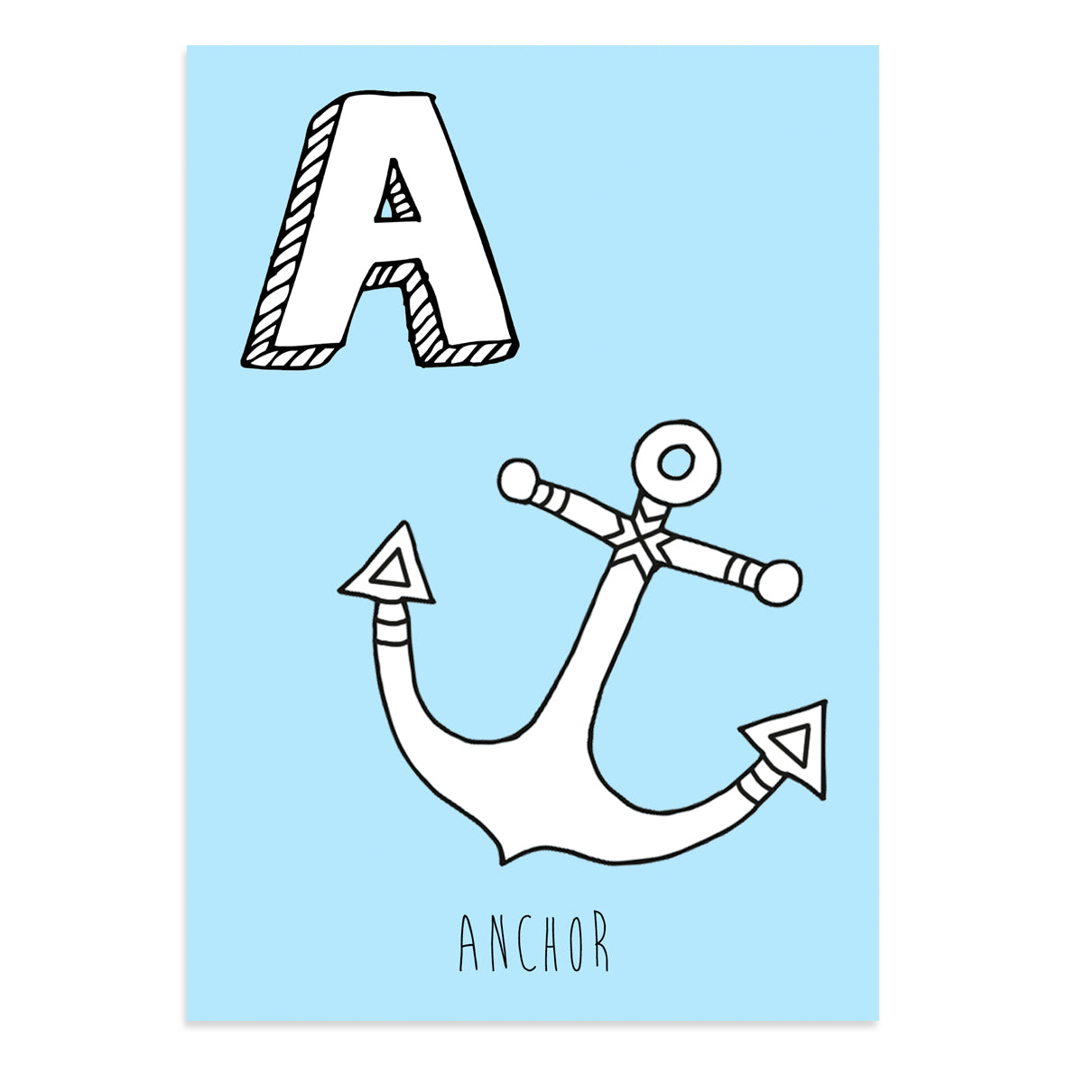 Blue postcard featuring the letter A for anchor