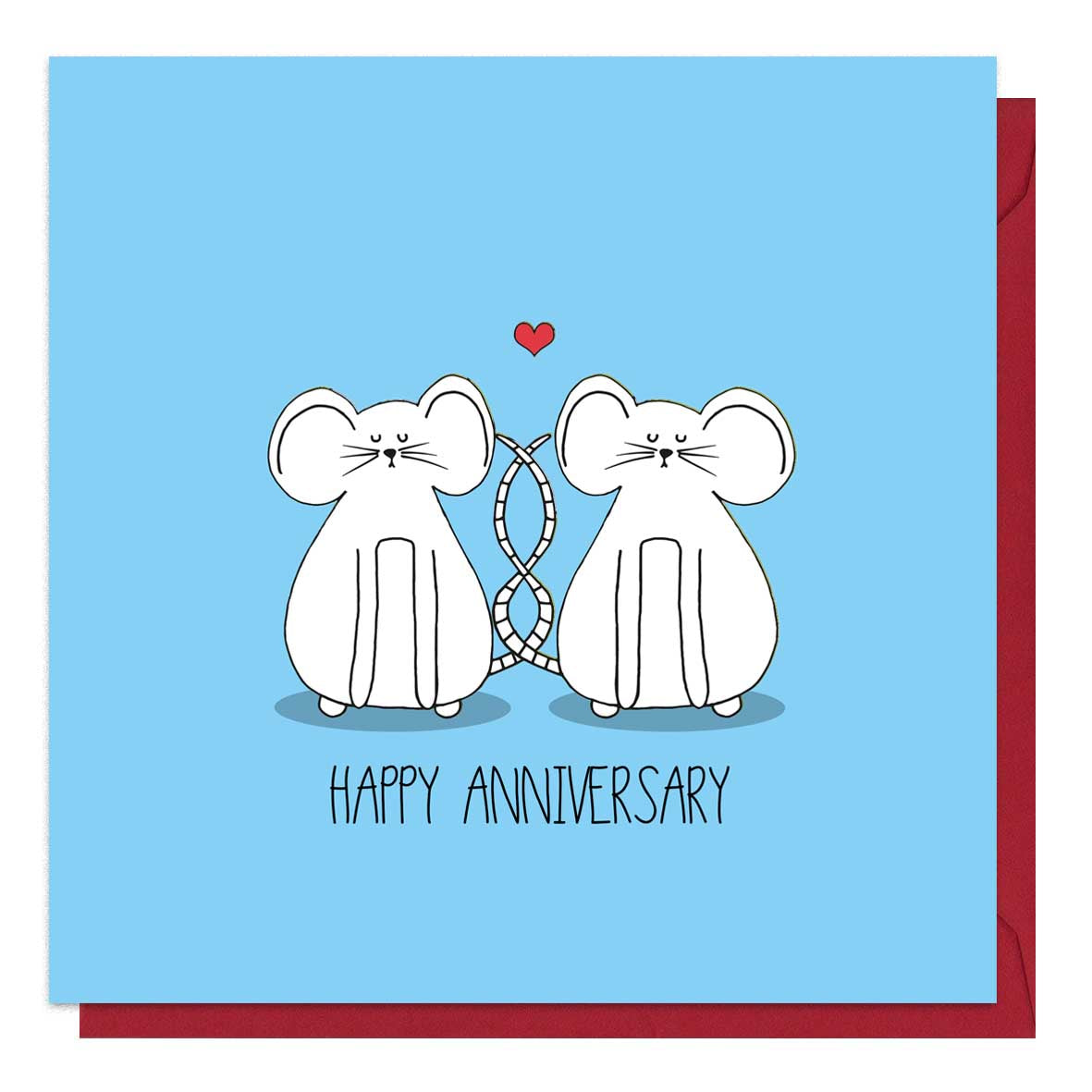 Blue anniversary card featuring two mice. It comes with a brown envelope