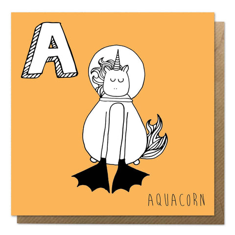 Orange unicorn alphabet card featuring A for Aquacorn