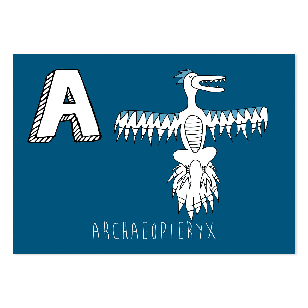 Navy postcard featuring the letter A for archaeopteryx