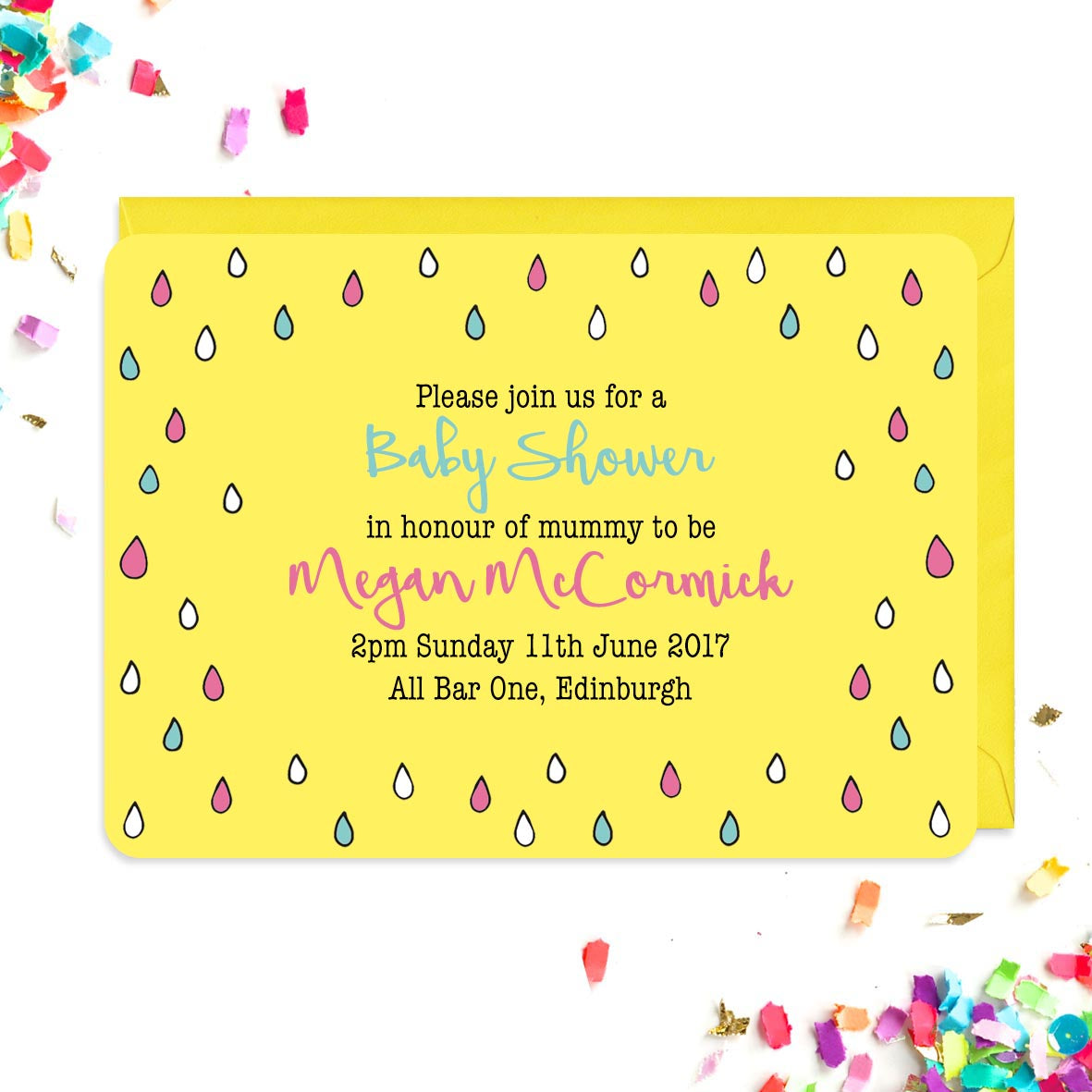 Baby shower invitation covered in colourful raindrops