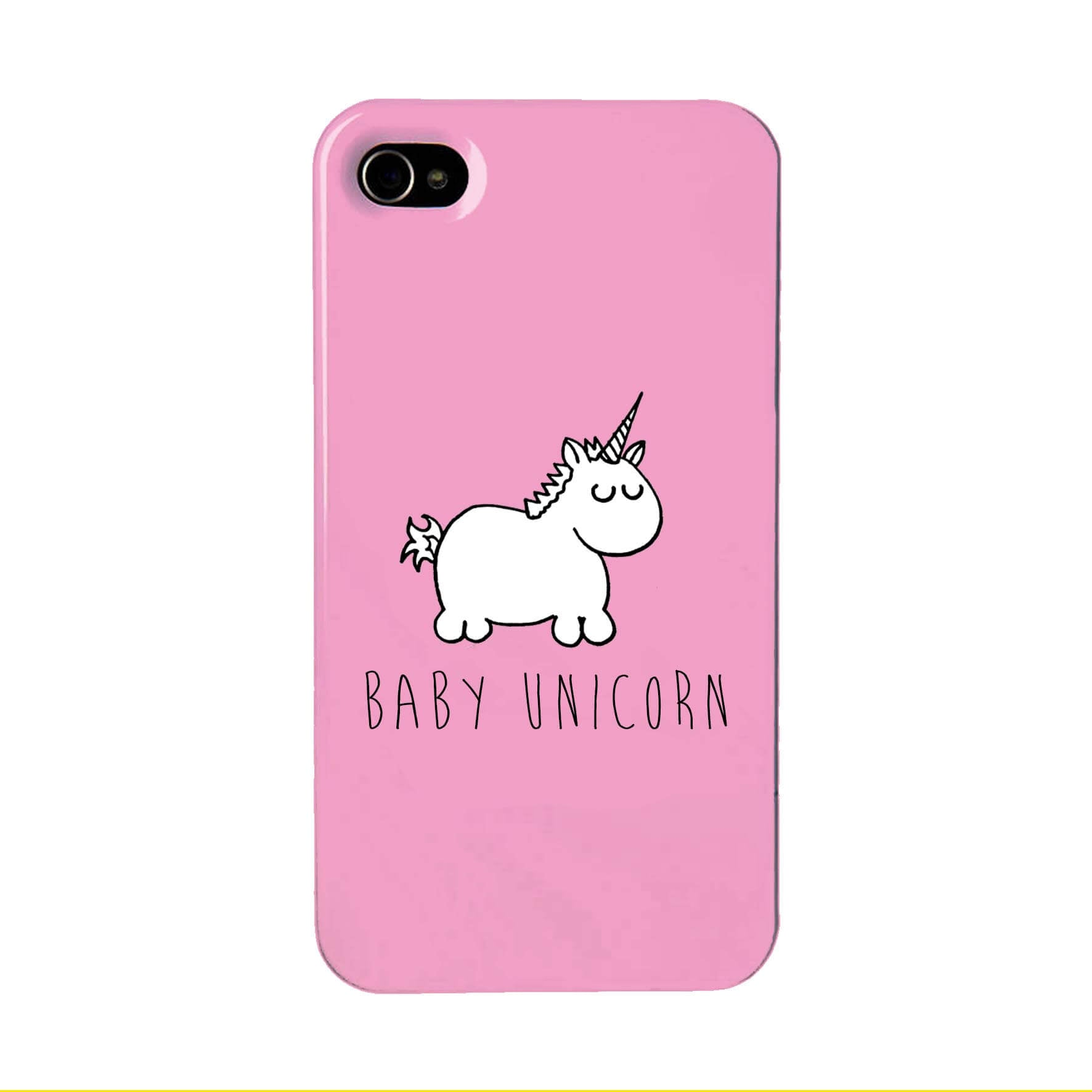 Pink phone case with an illustration of a baby unicorn