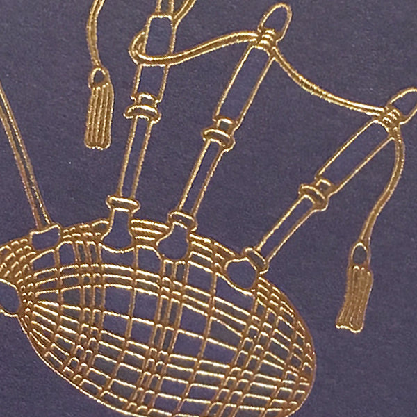 Detail of gold foil bagpipe card
