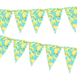 Blue bunting covered in bananas. The flags are on a blue ribbon