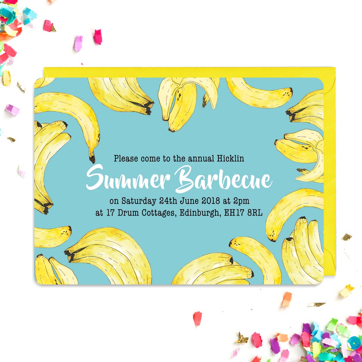 Blue invitations covered in a banana pattern