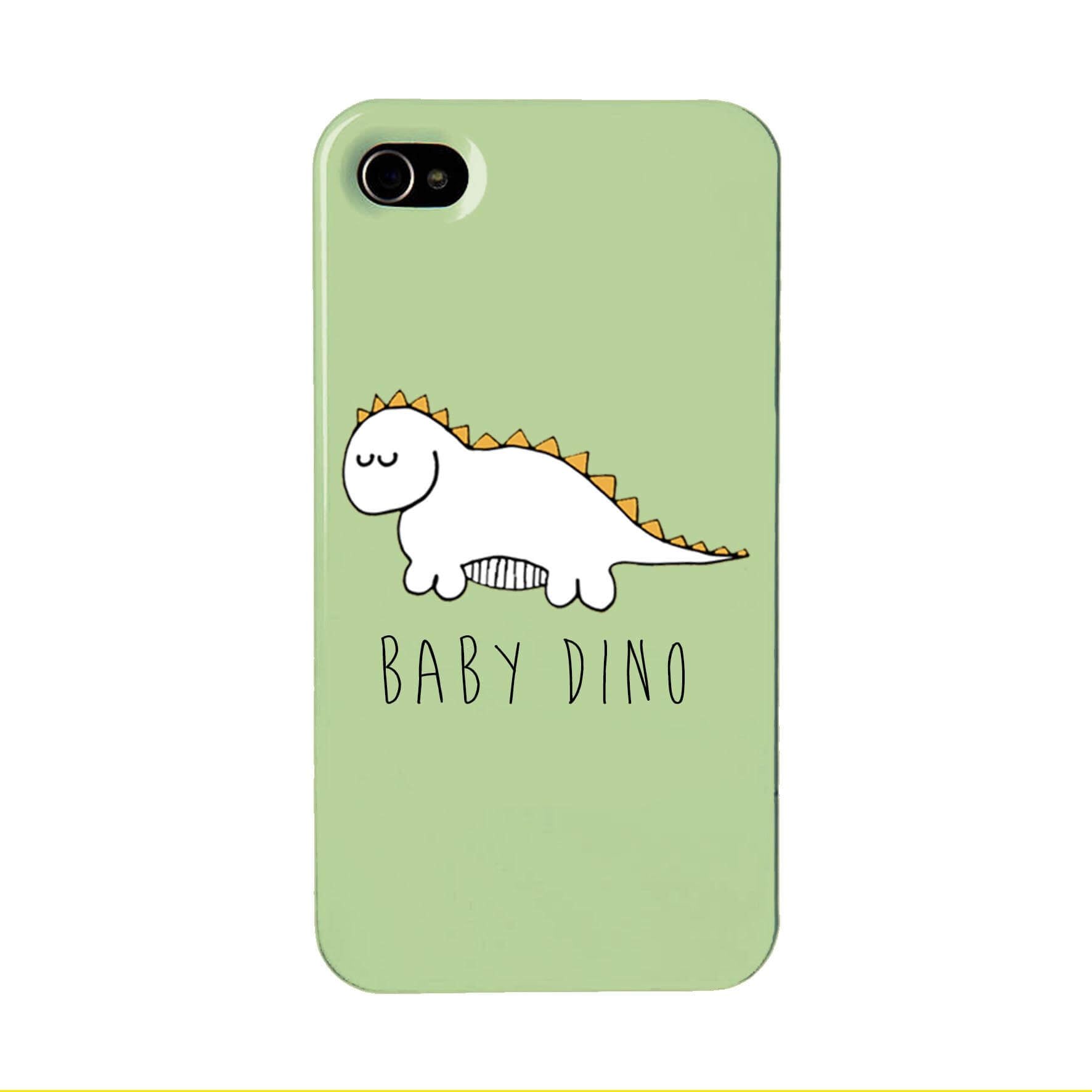Green phone case with an illustration of a baby dinosaur