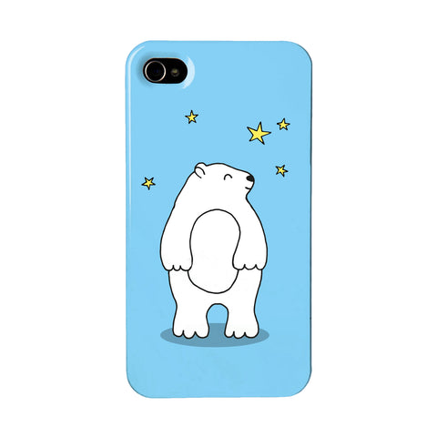Blue phone case with an illustration of a cute bear