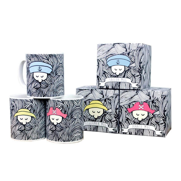 Bearded sailor mug set with matching boxes