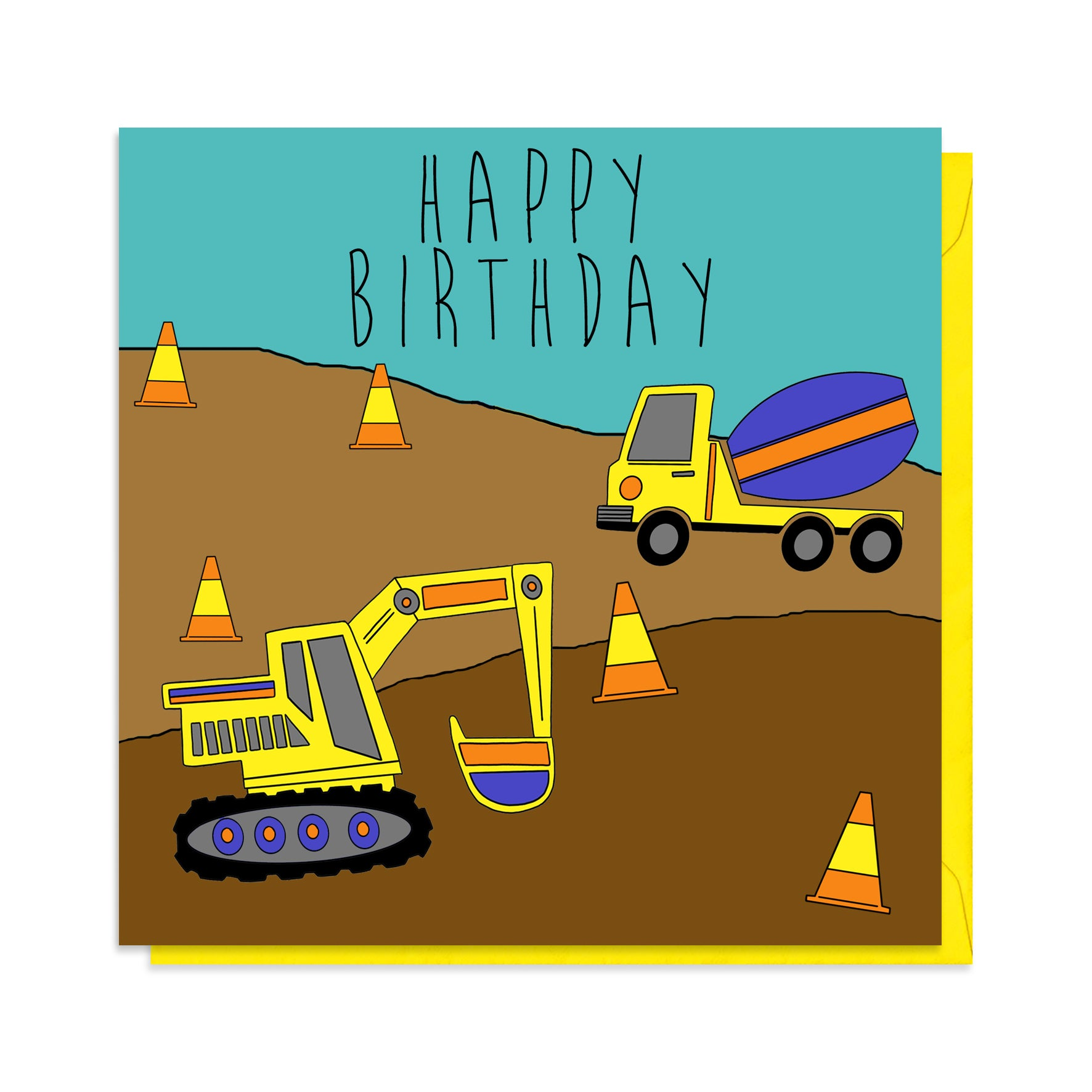 Digger birthday card