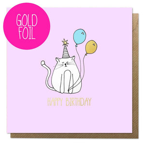 Birthday card with a cat, balloon and gold foil