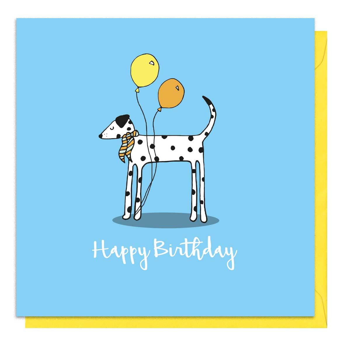 Blue birthday card with an illustration of a dalmatian
