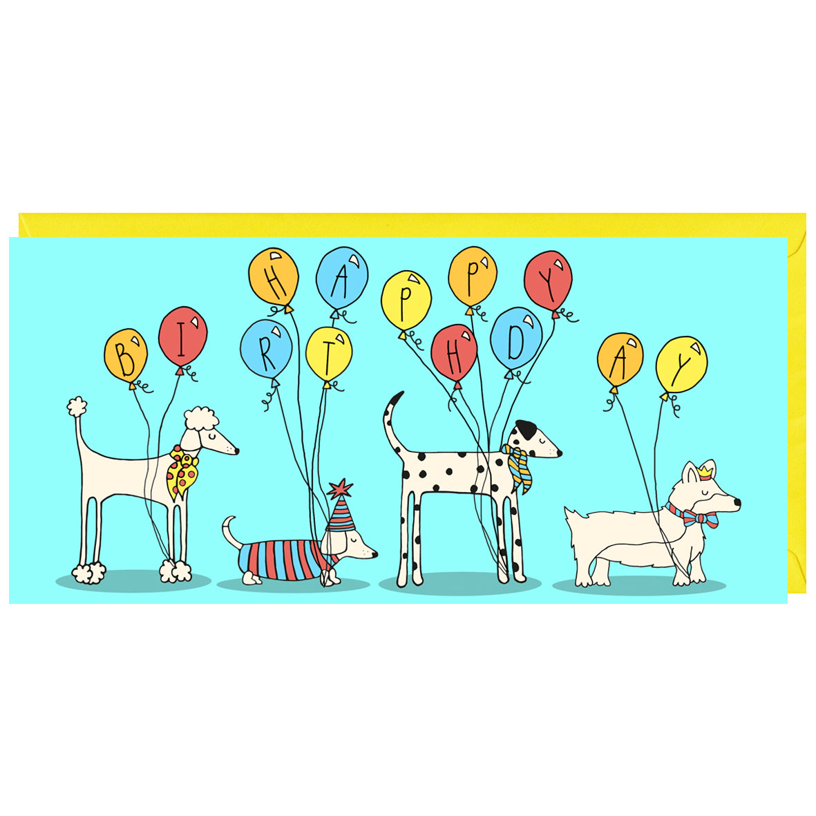 A fun birthday card featuring a row of dogs and balloons